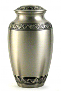 Etched Leaf Brass Cremation Urn with Pewter Finish