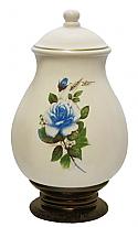 Ceramic Cremation Urn - Blue Rose