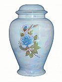 Blue Rose Ceramic Cremation Urn Mother of Pearl