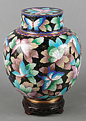 Enchanted Butterflies Cloisonne Adult Cremation Urn
