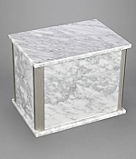 Companion Bianca Carrera White Marble Urn with Trim
