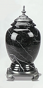 Adult Black Marble Cremation Urn with Pewter