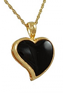 Gold onyx heart jewelry urn