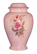 Pink Rose Ceramic Cremation Urn Mother of Pearl