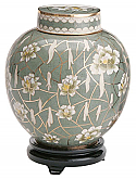 White Flower Cloisonne Cremation Urn