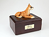 Boxer - ears Up Yellow-White Laying Dog Figurine Cremation Urn