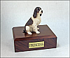 Wht-Liver Springer Spaniel, Sitting Dog Figurine Cremation Urn