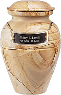 Beautiful Teak Wood Marble Cremation Urn