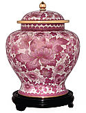 Small Pink Flowers Cloisonne Cremation Urn