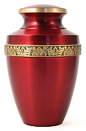 Red Brass Cremation Urn Floral Band
