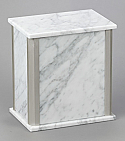 Personalized White Marble Adult Cremation Urn with Trim