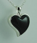 Onyx heart pendant Cremation Urn