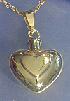 Gold Double Heart Keepsake Urn