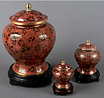 Hong Kong Red Cloisonne Cremation Urn