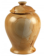 Medium Vase Style Teakwood Marbled Cremation Urn