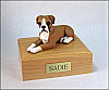 Boxer, Fawn White-Peru Ears Down laying Dog Figurine Cremation Urn