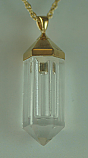 Gold-Plated Crystal Cylinder Keepsake Pendant