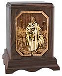 Lord is My Shepherd Urn 3-D Wood Inlay