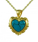 Gold heart with turquoise stone jewelry urn
