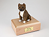 Pit Bull, Brindle-White Dog Figurine Cremation Urn