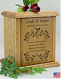 Hummingbird and Poem Wood Cremation Urn