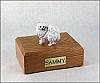 American Eskimo White Standing Dog Min Figurine Cremation Urn