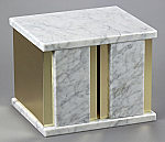 White Marble Double Cremation Urn with Trim