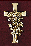Cross with Roses Applique for Urns