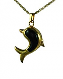Gold dolphin with onyx stone pendant Cremation Urn
