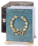 Patina Cube Urn with Wreath
