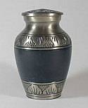 Etched Leaf Navy Blue Brass Urn Keepsake