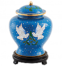 Doves of Peace Blue Cloisonne Cremation Urn