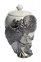 Large Angel Embrace Cremation Urn Pewter