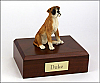 Boxer - ears down Peru Sitting Dog Figurine Cremation Urn