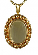 Gold oval Glass locket Cremation Urn