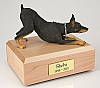 A Doberman, Black - Figurine Cremation Urn