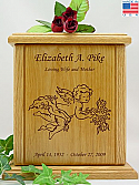 Cherub With Flowers Wood Cremation Urn
