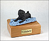 Pug, Black Playing Dog Figurine Cremation Urn