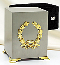 Brushed Pewter Cube Urn with Gold Emblem