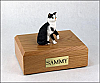 Tabby, Black-White, Shorthair Sitting Cat Figurine Cremation Urn