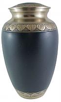 Etched Leaf Midnight Blue Brass Cremation Urn