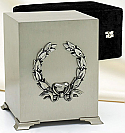 Brushed Pewter Cube Urn with Wreath