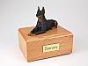 Doberman Black Laying Dog Figurine Cremation Urn