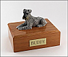 Schnauzer, Silver Laying Dog Figurine Cremation Urn