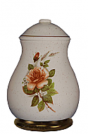 Country Beige Rose Ceramic Cremation Urn