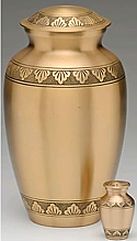 Etched Leaf Brass Cremation Urn