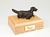 Dachshund, Long-haired, Bronze Dog Figurine Cremation Urn