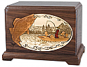 Fishing for Walleye Wood Cremation Urn