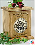 Military Recessed Wood Medallion Cremation Urn