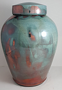 Turquoise and Copper Raku Cremation Urn